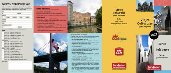 Diseño de folleto para promocionar viajes.