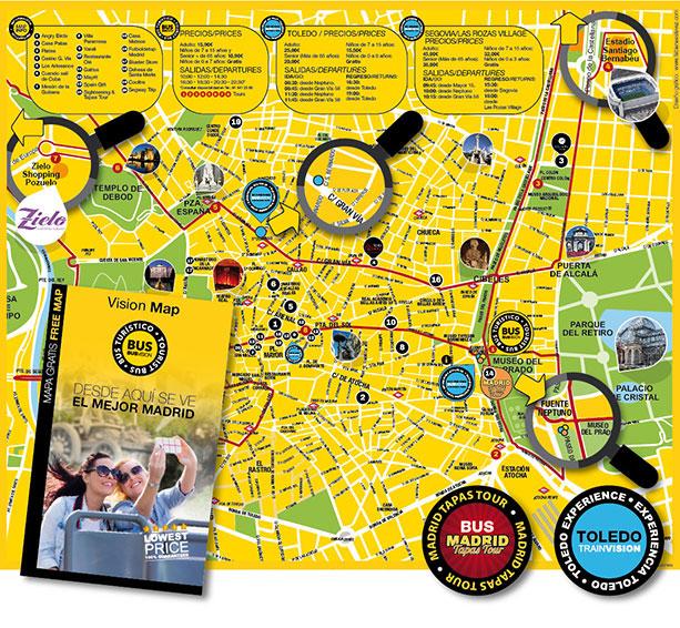 Folleto turístico con mapa de ciudad