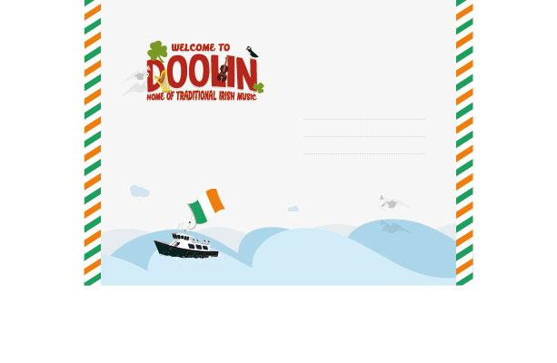 Diseño de postcard para pueblo de Irlanda