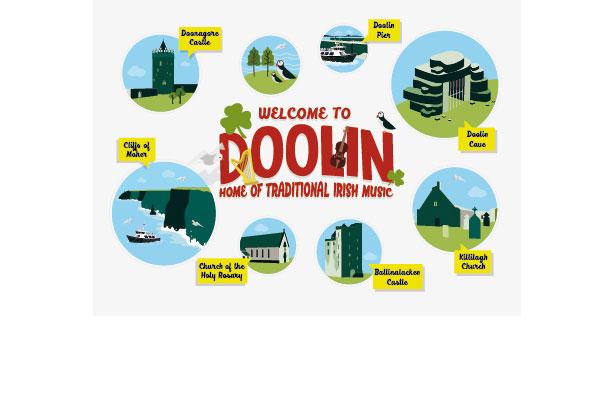 Diseño de postal para pueblo de Irlanda